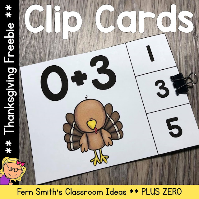You will love how easy it is to prepare this FREE Thanksgiving Turkey Themed Addition Plus Zero Clip Card Math Center for your class.