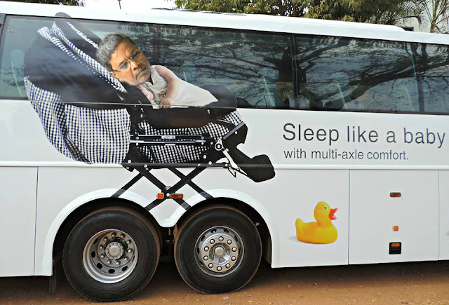 Very Creative Bus Ads | siddaramaiah sleeping | ksrtc sleep like a baby