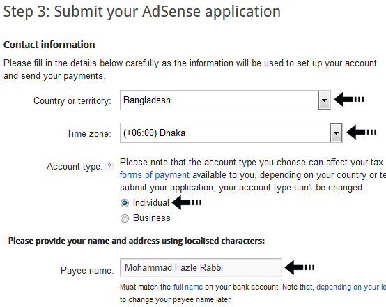 AdSense account type