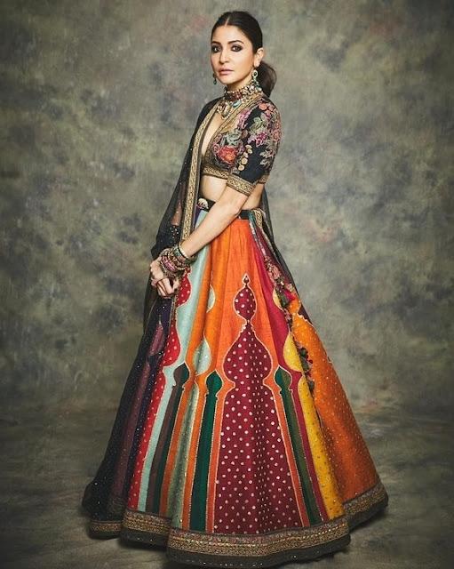 Anushka Sharma in Multi Color Embroidery Lehenga