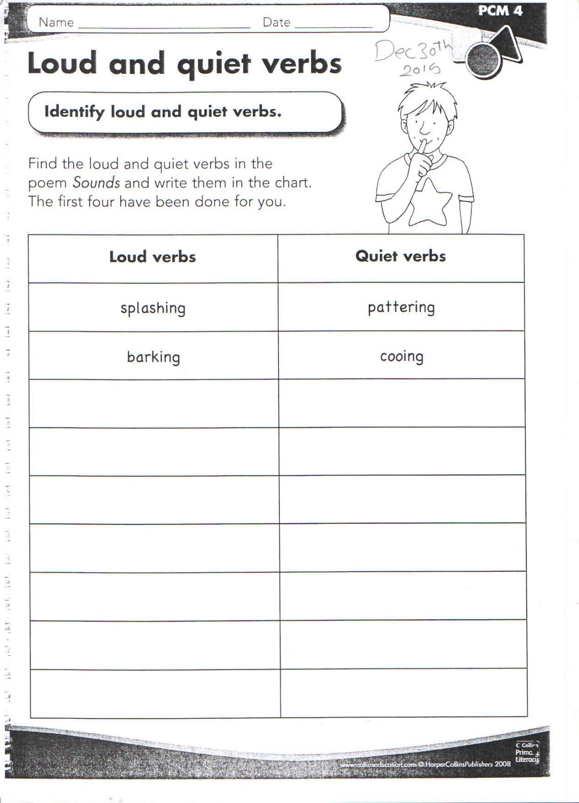 Year 3 Fantasy Loud And Quiet Verbs