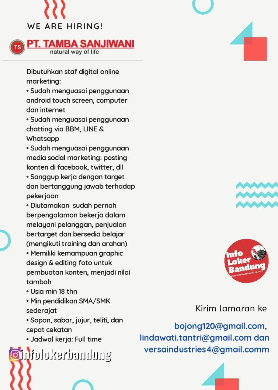 Lowongan Kerja PT. Tamba Sanjiwani Bandung Maret 2020