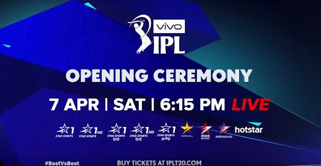 VIVO IPL Opening Ceremony 2018 Live Stream Telecast