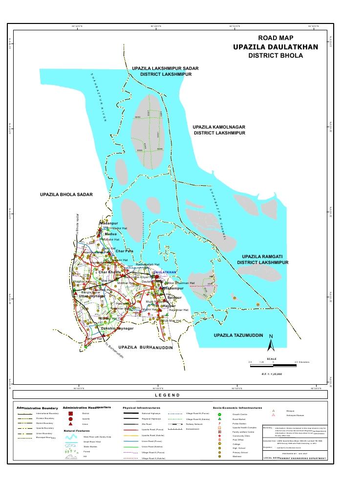 Daulatkhan Upazila Road Map Bhola District Bangladesh