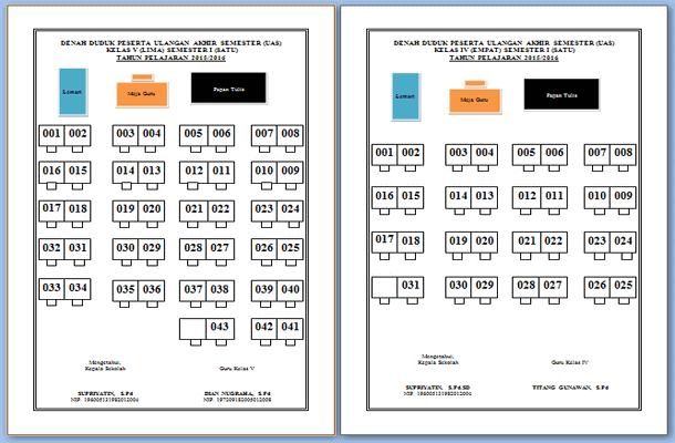 Denah Tempat Duduk dan Cetak Nomor Bangku Ujian Format Microsoft Word