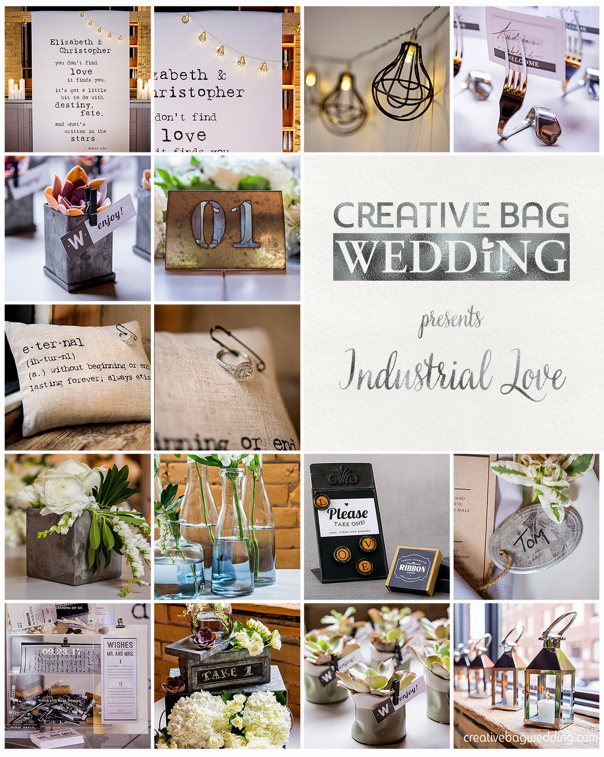 Industrial Love mood board | Creative Bag Wedding