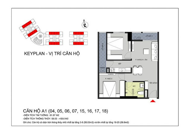 Thiết kế căn hộ 58m2 tại Hateco Apollo, sở hữu 02 phòng ngủ, 02 logia
