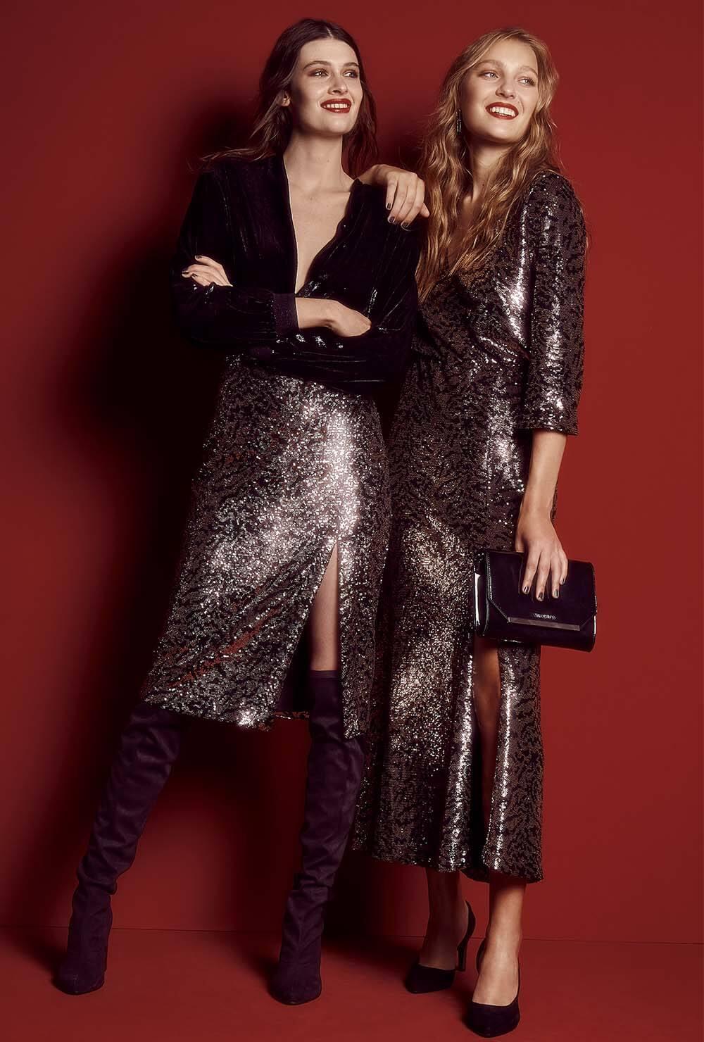 Moda invierno 2020. Vestidos y faldas brillosas invierno 2020.