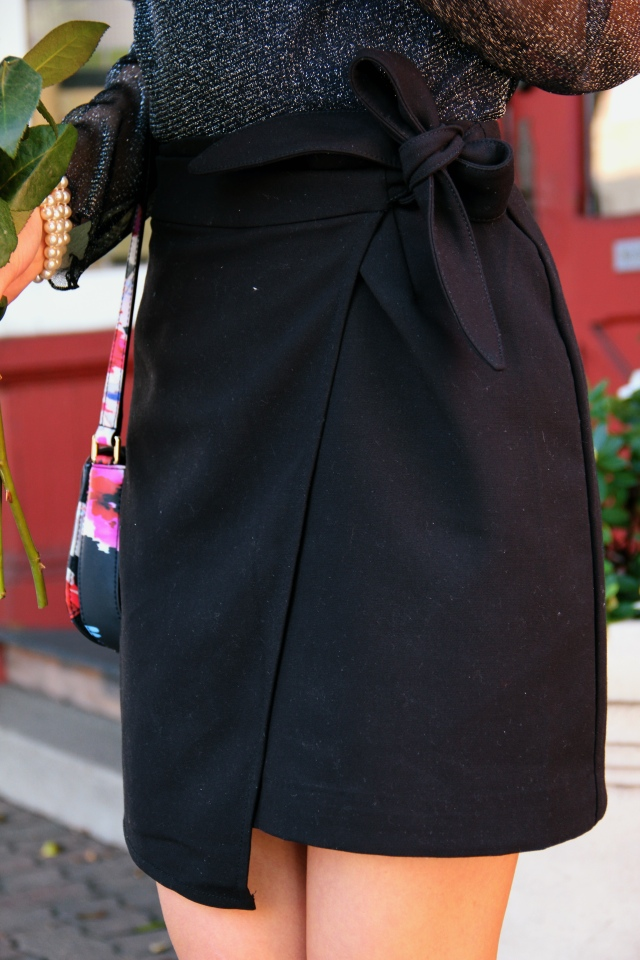 h&m black bow wrap skirt tie