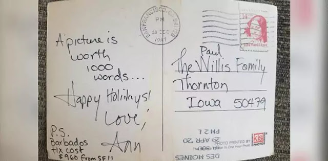 Postcard sent in 1987 received in 2020