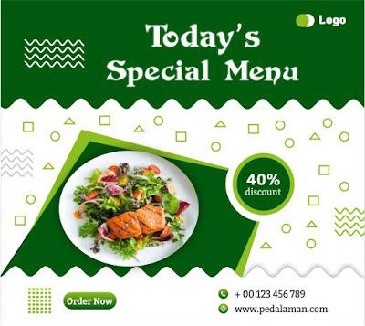 Membuat desain flyer menu makanan