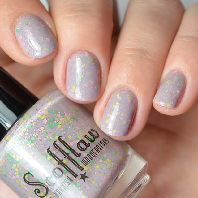 grey jelly nail polish with candy glitter