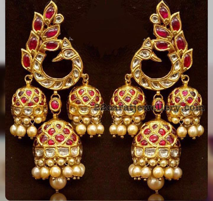 three jhumka hanging earrings jewellery designs