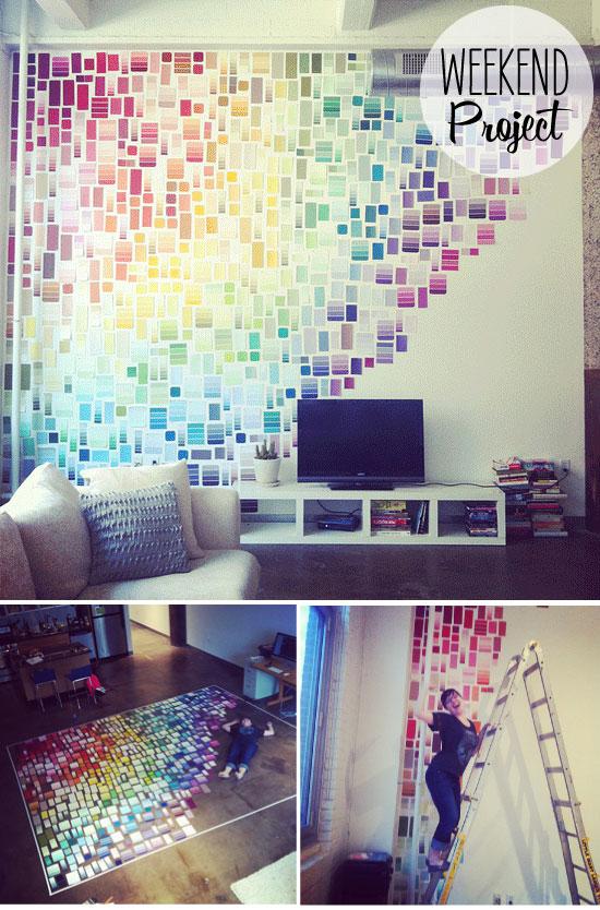 Weekend Project: Paint Swatch Wall   Poppytalk