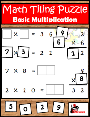 Free multiplication tiling puzzle to work on basic facts and critical thinking at the same time - free download from Raki's Rad Resources.