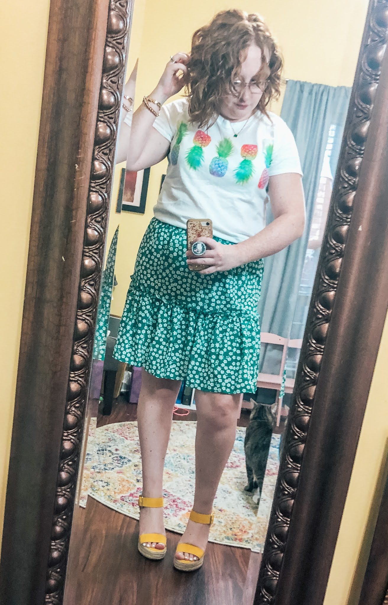 pineapple-tshirt-green-floral-skirt-yellow-wedges