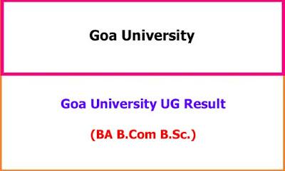 Goa University Degree Exam Result