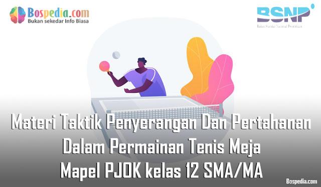 Materi Taktik Penyerangan Dan Pertahanan Dalam Permainan Tenis Meja Mapel PJOK kelas 12 SMA/MA
