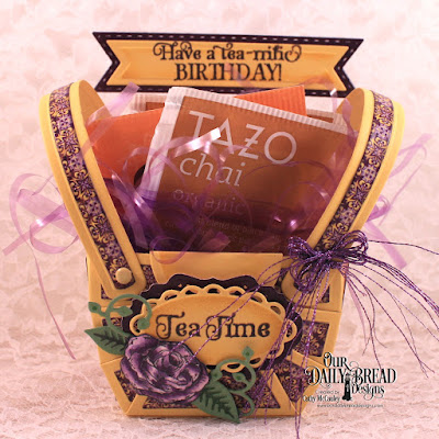 Our Daily Bread Designs Stamp Set: Tea Time, Our Daily Bread Designs Paper Collection: Whimsical Wildflowers, Plum Pizzazz, Our Daily Bread Designs Custom Dies: Bountiful Basket, Leaves & Branches, Bitty Blossoms, Pennant Flag, Double Stitched Pennant Flag, Ornate Ovals, Vintage Border