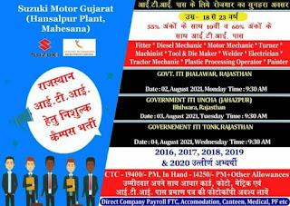 ITI Jobs Campus Placement at Govt ITI Tonk, Govt ITI Uncha and Govt ITI Jhalawar Rajasthan For Suzuki Motor Gujarat Plant
