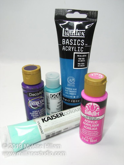 A selection of different brands of acrylic paints