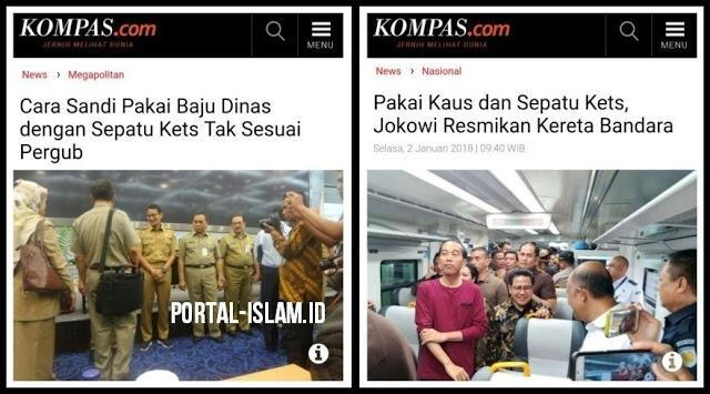 Medianya Sama, Sama-sama Sepatu Kets, Malah Kaos Oblong; Tapi,, Lihat Beda Pemberitaannya