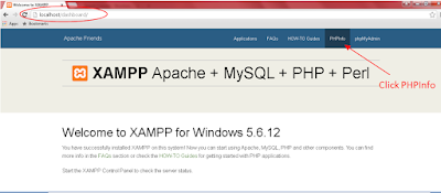 Click PHPInfo link on the XAMPP Dashboard