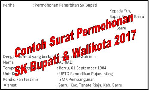 Contoh Surat Permohonan SK Bupati dan Walikota 2017