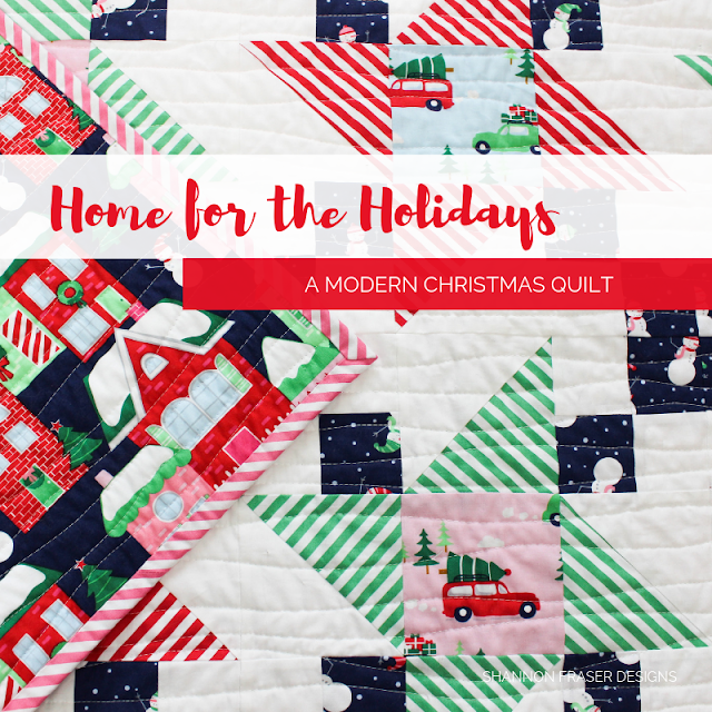Home for the holidays is a modern Christmas quilt by Shannon Fraser Designs