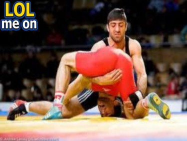 "funny sport picture shows an athlete surrendered to his delight from ""LOL me on"""