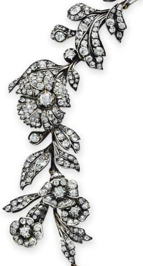 Detail; a Victorian antique diamond flower necklace.