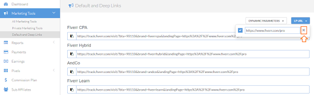 How to create deep links on fiverr