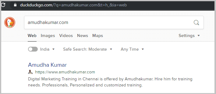 Duckduckgo-Index-Status-for-Amudhakumar-website