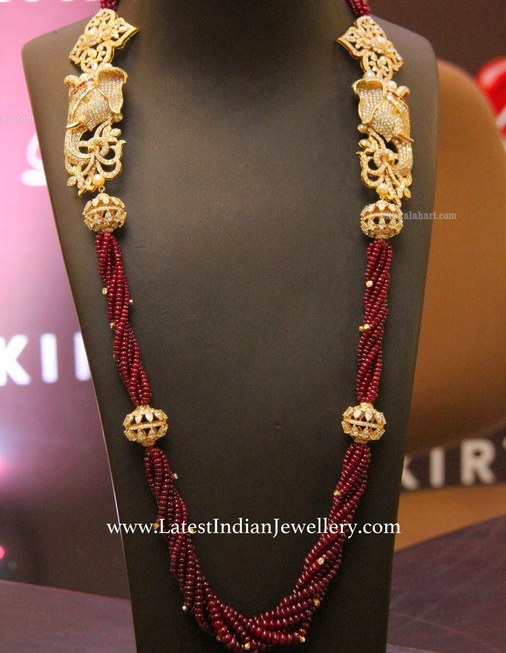 Ruby Beads Mala Elephant Motifs