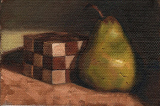 Oil painting of a wooden cube beside a green pear.