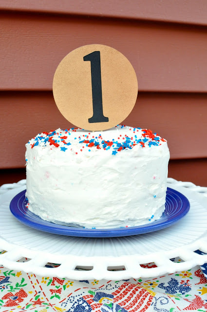 Abraham Lincoln Party, first birthday, patriotic, red, white, and blue, cake