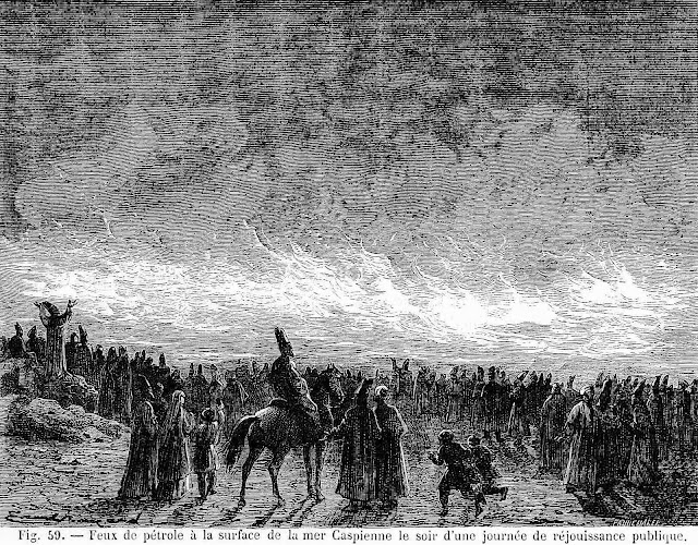 the 1700s Caspian Sea on fire, an illustration