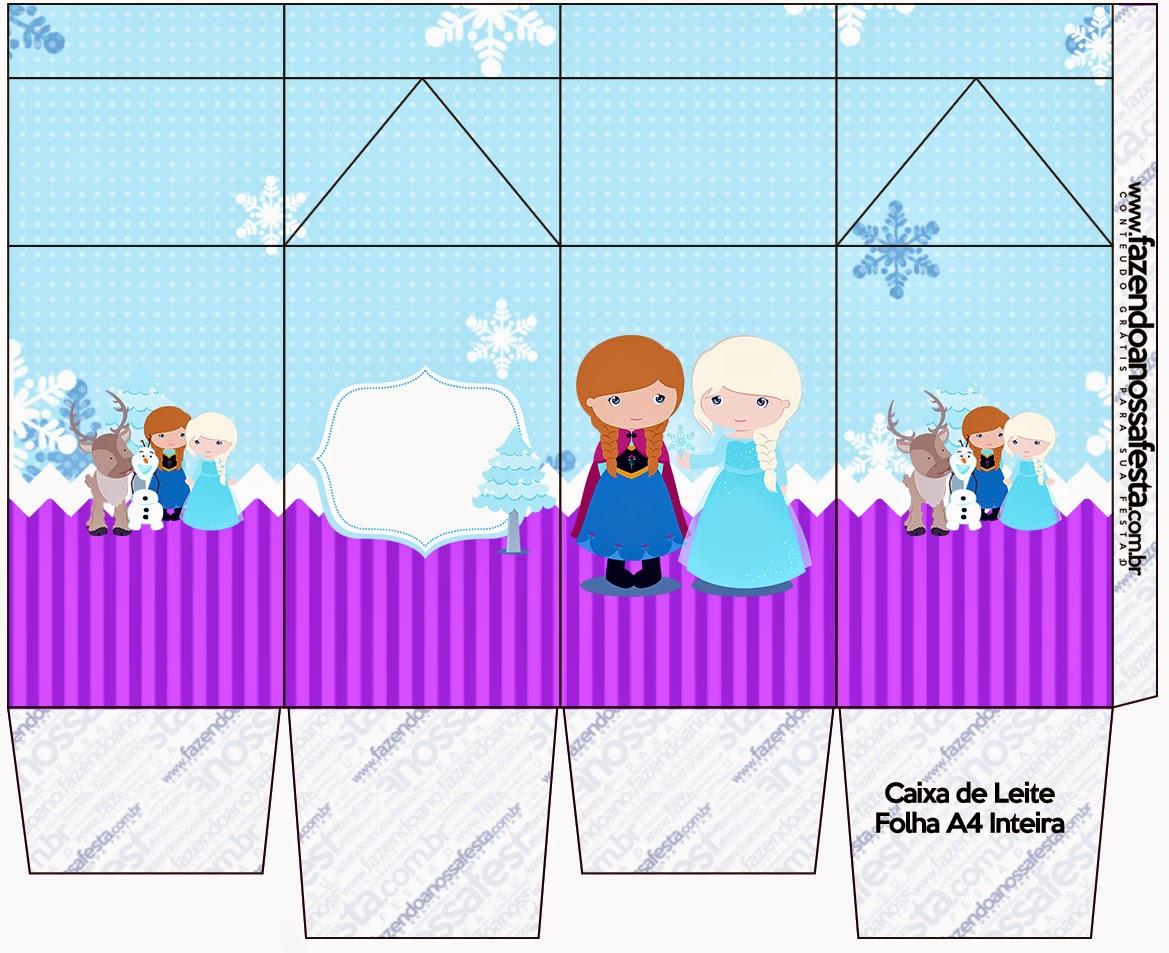 """Caja tipo """"de leche"""" de Frozen Niñas en Navidad."""