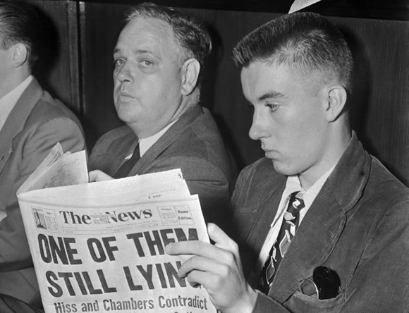 Whittaker Chambers sits during the HUAC investigation of Alger Hiss.