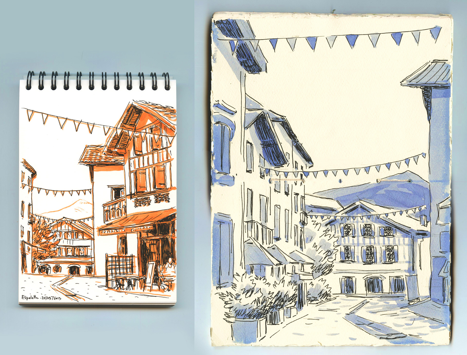 sketches of Espelette streets
