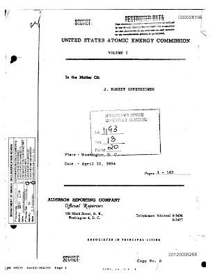 Oppenheimer Hearing Declassified in Full (1954 ) (pg 1)