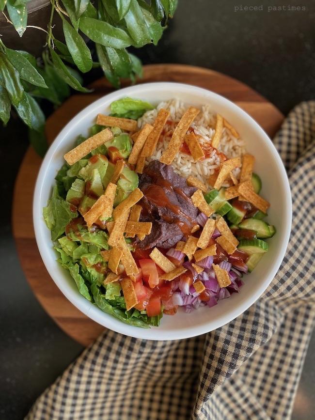 Vegan Burrito Bowl at Pieced Pastimes