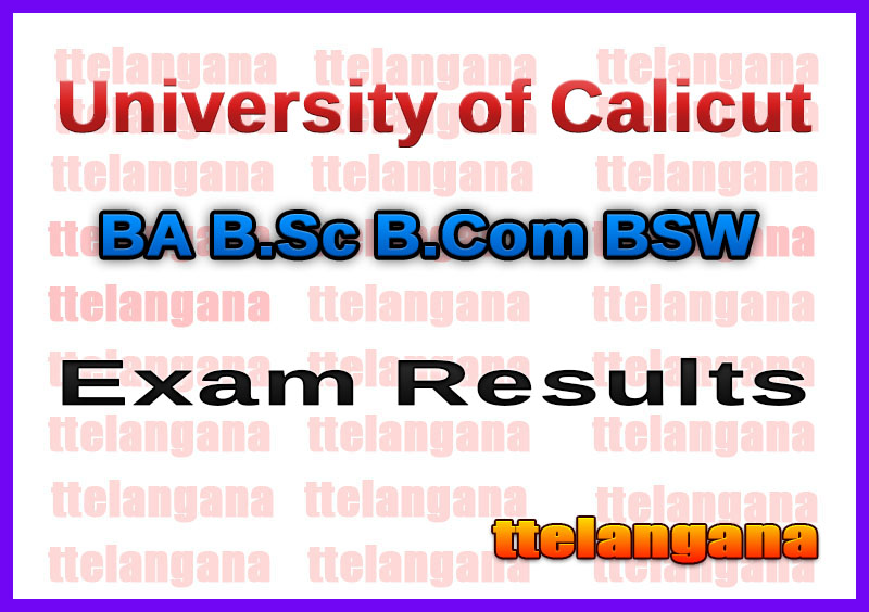 University of Calicut UG Exam Results