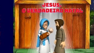 José e maria segurando jesus saindo da estrebaria