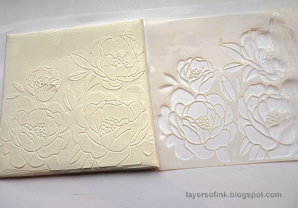 Layers of ink - Peony Mixed Media Canvas Tutorial by Anna-Karin Evaldsson. Apply texture paste through stencil.