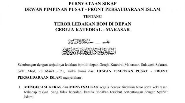 Ini Pernyataan Sikap DPP FPI Atas Aksi Bom Bunuh Diri di Depan Gereja Katedral Makassar