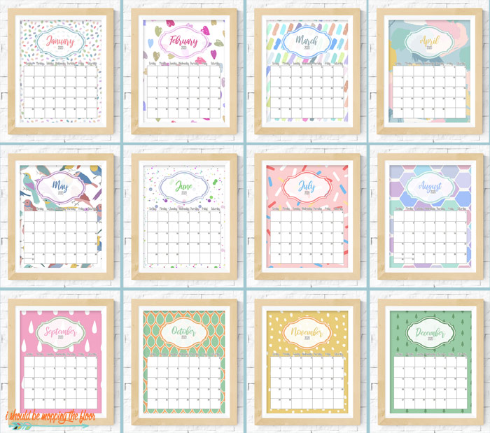 2020 Pretty Pattern Printable Calendar