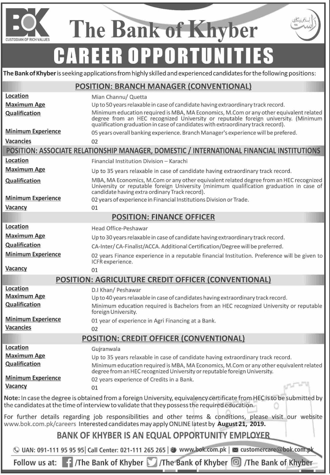 The Bank Of Khyber 07 Aug 2019 Latest Jobs