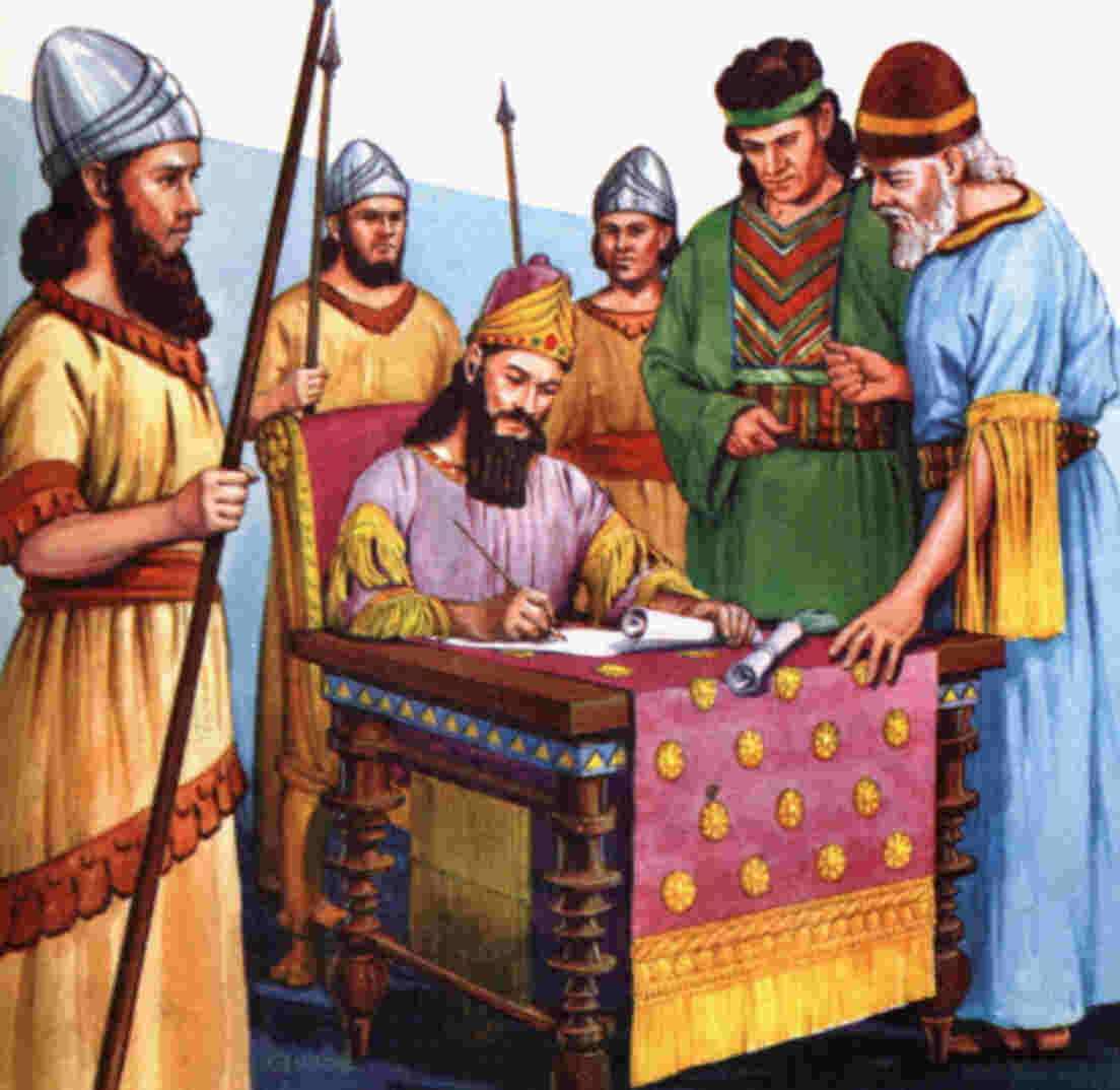 The king then issued an edict that the Jews could assemble and protect themselves from any man that tried to harm them.