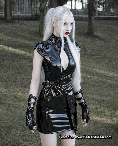 Black PVC mini-dress blonde
